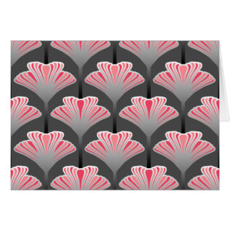 Art Deco Lily, Gray / Grey and Coral Pink Card