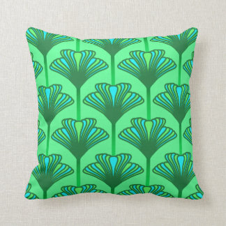 Art Deco Lily, Jade Green and Turquoise Throw Pillow