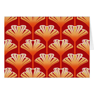 Art Deco Lily, Tangerine Orange and Gold Card