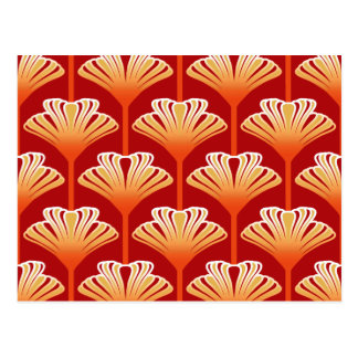 Art Deco Lily, Tangerine Orange and Gold Postcard