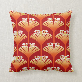 Art Deco Lily, Tangerine Orange and Gold Throw Pillow