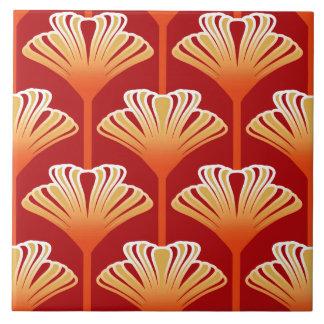 Art Deco Lily, Tangerine Orange and Gold Tile