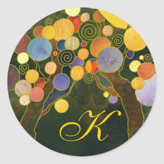 Art Deco Love Trees Wedding Favor Monogram Round Sticker