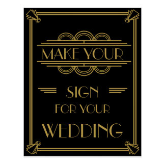 Art Deco Make your own poster party /wedding print