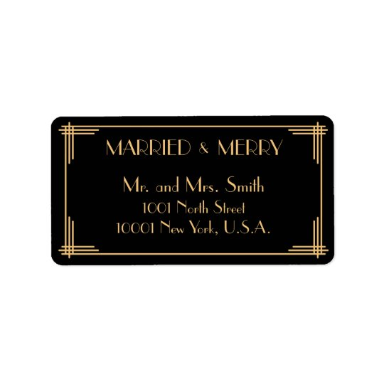 Art Deco Married And Merry Christmas Address Label