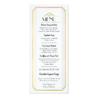 Art Deco Menu Gold White Wedding Reception Card