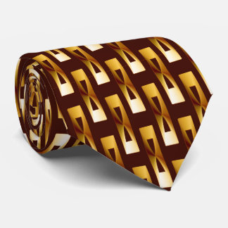 Art Deco Metallic Geometric - Gold and Chocolate Tie