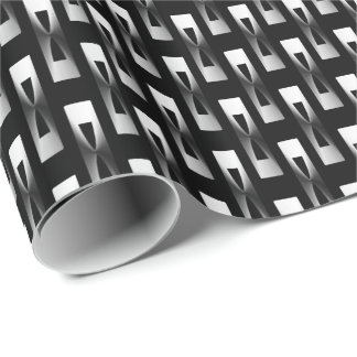 Art Deco Metallic Geometric - Silver and Black Wrapping Paper