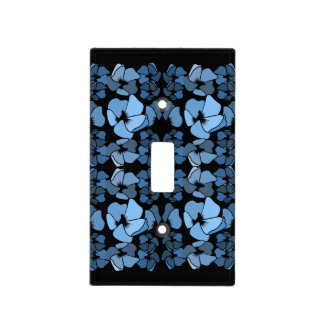 Art deco midnight blue floral print light switch cover