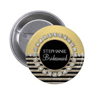Art Deco Modern Horizontal Stripe Glitter Look 2 Inch Round Button