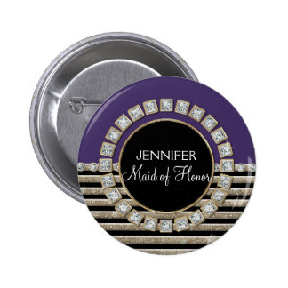 Art Deco Modern Horizontal Stripe Glitter Look 2 Inch Round Button
