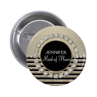 Art Deco Modern Horizontal Stripe Glitter Look Pin