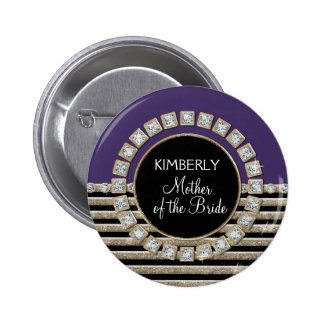 Art Deco Modern Horizontal Stripe Glitter Look Pinback Buttons