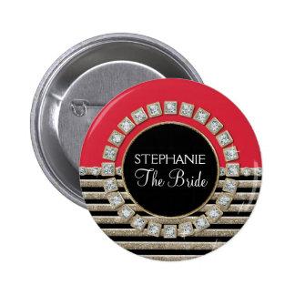 Art Deco Modern Horizontal Stripe Glitter Look Buttons