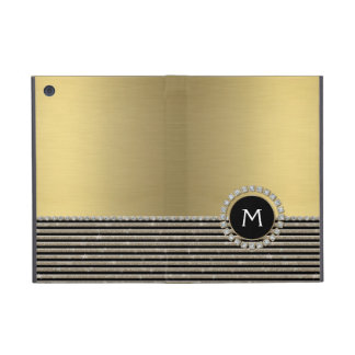 Art Deco Modern Horizontal Stripe Glitter Look Cover For iPad Mini