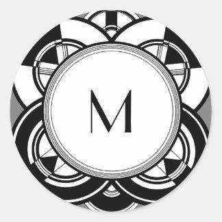 Art Deco Monogram Customizable Classic Round Sticker
