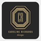 Art Deco Monogram Gold/Black Personalized Stickers