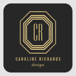 Art Deco Monogram Gold/Black Personalized Stickers