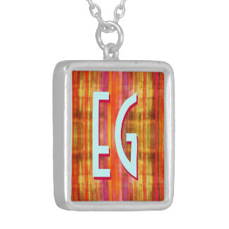 Art Deco Monogram Silver Plated Necklace