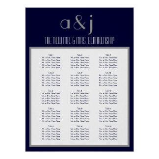 Art Deco Monogram Wedding 150 Guest Seating Chart Poster