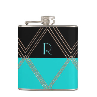 Art Deco Monogrammed Custom Flask