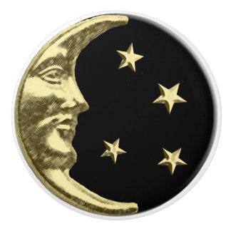 Art Deco Moon and stars - Black and Gold Ceramic Knob