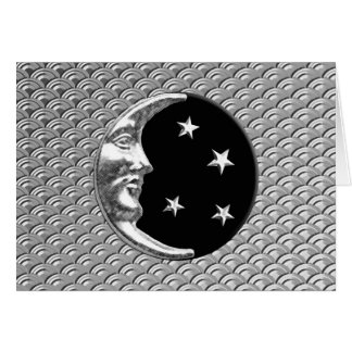 Art Deco Moon and stars - Black and Silver Card