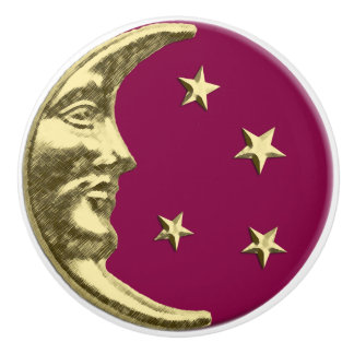 Art Deco Moon and stars - Burgundy and Gold Ceramic Knob