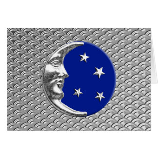 Art Deco Moon and stars - Cobalt Blue and Silver Card