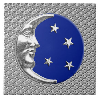 Art Deco Moon and stars - Cobalt Blue and Silver Ceramic Tiles