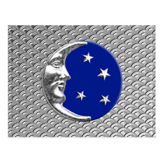 Art Deco Moon and stars - Cobalt Blue and Silver Postcard