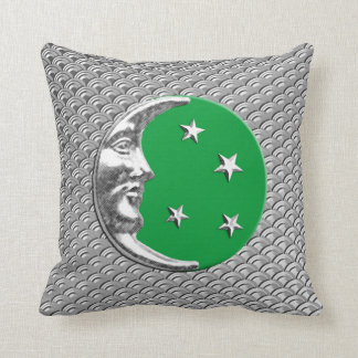Art Deco Moon and stars - Jade Green and Silver Throw Pillow