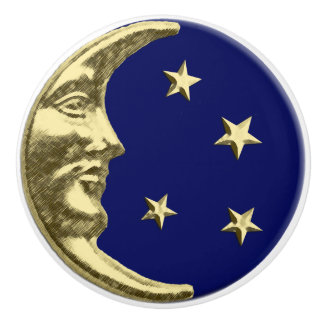 Art Deco Moon and stars - Navy Blue and Gold Ceramic Knob
