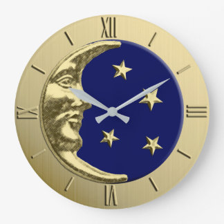 Art Deco Moon and Stars - Navy Blue and Gold Large Clock