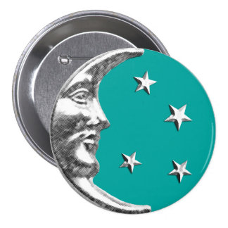 Art Deco Moon and Stars - Turquoise & Silver 3 Inch Round Button