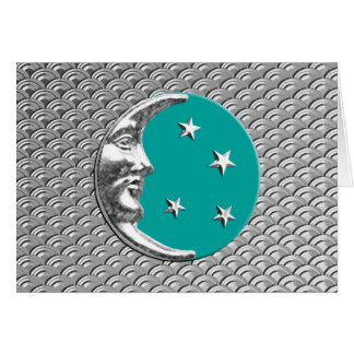 Art Deco Moon and stars - Turquoise & Silver Card