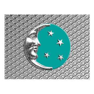 Art Deco Moon and stars - Turquoise & Silver Postcard