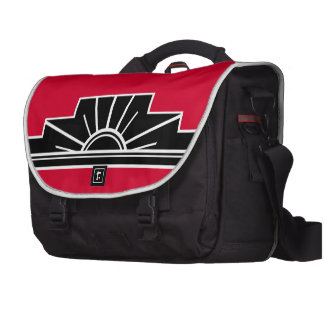 Art Deco Motif in B&W and Red Laptop Commuter Bag