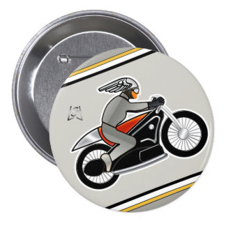 """Art Deco Motorcycle (3"""" pin) 3 Inch Round Button"""