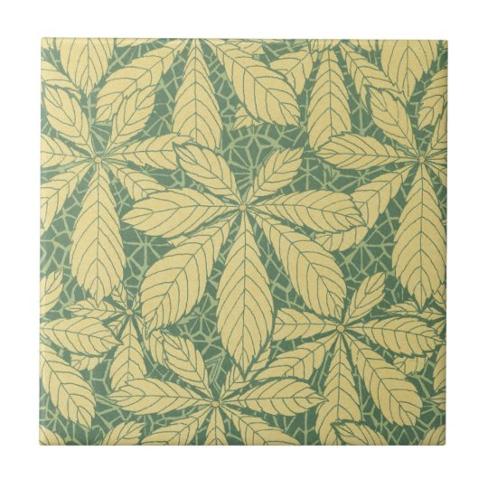art deco nature leaves foliage pattern art tile | Zazzle.ca