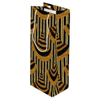 Art Deco New Year | Faux Gold Glitter & Black Wine Gift Bag