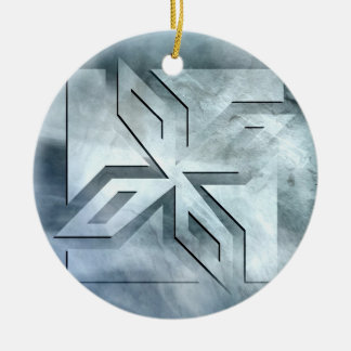 Art Deco Ninja Star Icon on stone Round Ceramic Ornament