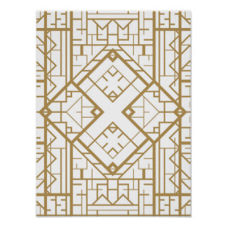 Art deco,nouveau,gold,white,elegant,chic,pattern,t poster