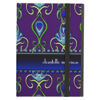 Art Deco Nouveau Peacock Feather Colors Swirl Art iPad Air Cover