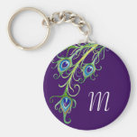 Art Deco Nouveau Style Peacock Feathers Swirl Key Chains