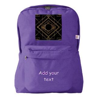 Art deco, nouveau,vintage,black,gold,chic,elegant, backpack
