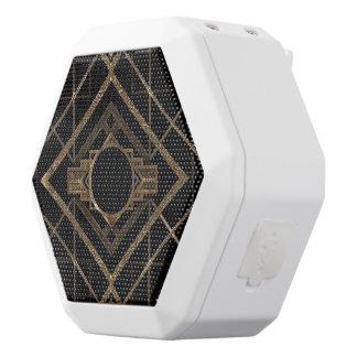 Art deco, nouveau,vintage,black,gold,chic,elegant, white bluetooth speaker