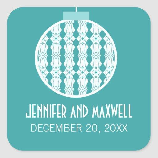 Art Deco Ornament Holiday Wedding Stickers, Teal