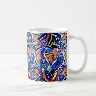 Art deco painting pattern, blue and orange coffee mug