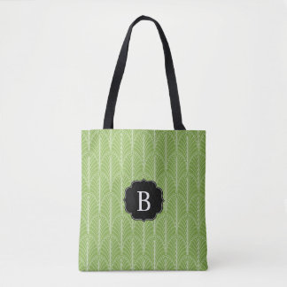 Art Deco Palm Pattern with Monogram Tote Bag
